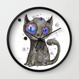 Black cute kitten Wall Clock
