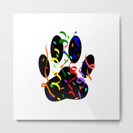 Dog Paw Print Confetti And Streamers Metal Print