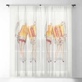 Cheers! Beer Pin-Ups Sheer Curtain