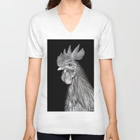 chicken V-neck T-shirts featuring Chicken by Shusei Mochizuki