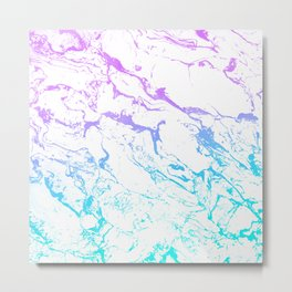 White marble purple blue turquoise ombre watercolor mermaid pattern Metal Print