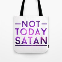 rupaul Tote Bags featuring NOT TODAY SATAN by GLAMAZON