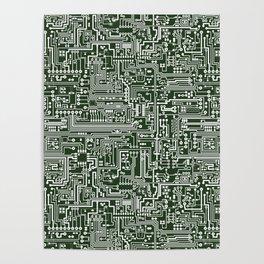 Circuit Board // Green & White Poster