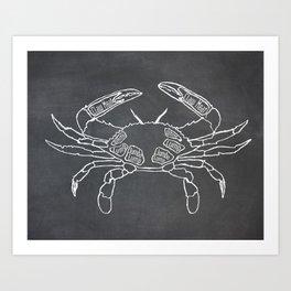 Crab Butcher Diagram (Seafood Meat Chart) Art Print