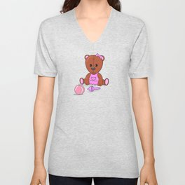 Teddy bear in a pink dress with a ball and maracas. Teddy bear girl. Unisex V-Neck