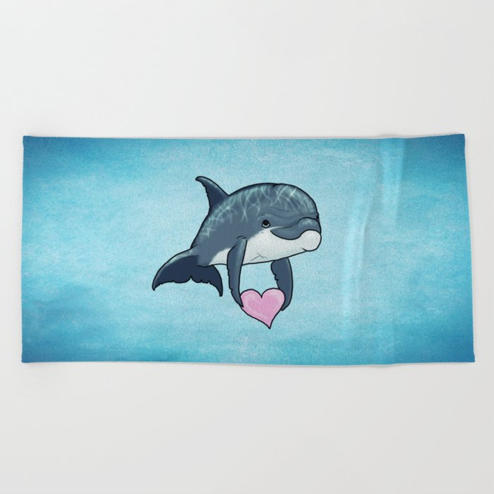 Love Ya! ~ Baby Dolphin by Amber Marine ~ Blue ~ (Copyright 2014) Beach Towel