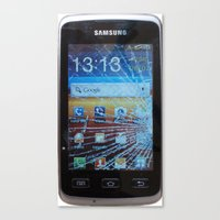 samsung Canvas Prints featuring iPhone crashes Samsung by CrazyWorld