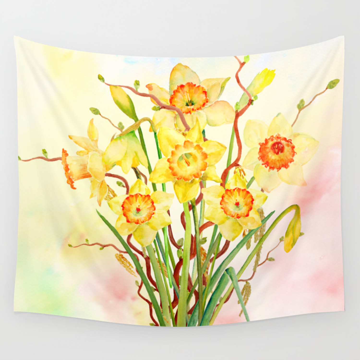 Watercolor Daffodils Yellow Flowers Spring Flowers Wall Tapestry