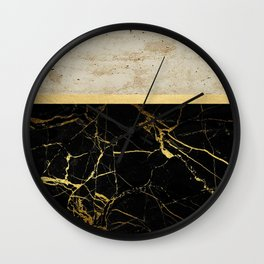 Gold and Marble Stripes 2 Wall Clock