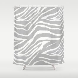 ZEBRA GRAY AND WHITE ANIMAL PRINT Shower Curtain