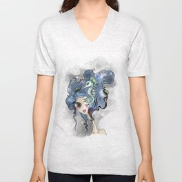 the deep girl-1 Unisex V-Neck