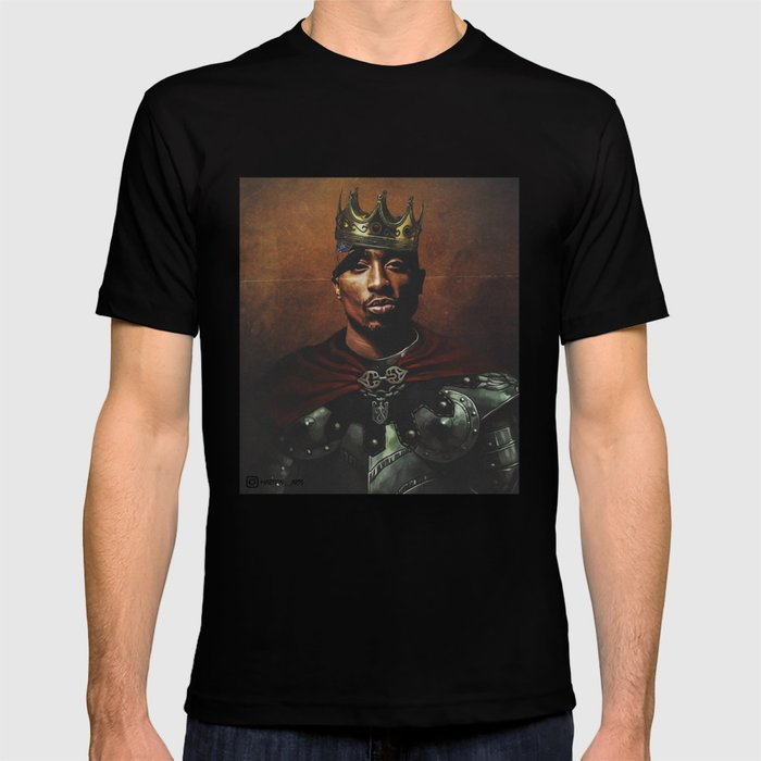 King Pac Graphic T-shirt by Martian__arts - Black - SMALL - Mens Fitted Tee