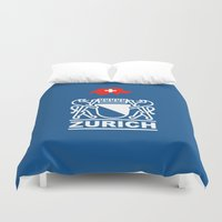 switzerland Duvet Covers featuring Zurich City of Switzerland by insitemyhead
