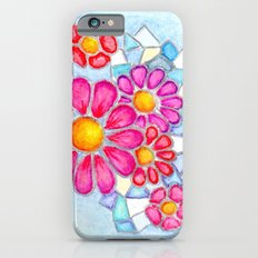 Raspberry Daisies and Icy Blue Crystals iPhone 6s Slim Case