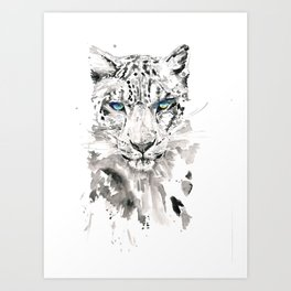 Watercolor leopard with blue eyes print Art Print