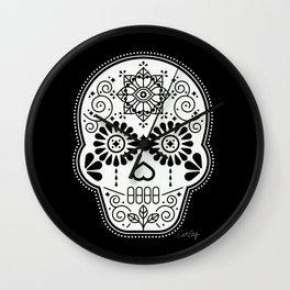 Día de Muertos Calavera • Mexican Sugar Skull – White on Black Wall Clock