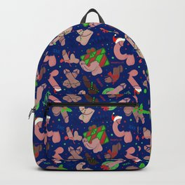 Merry Dickmas, Blue Pattern Backpack