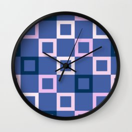 Pink White and Blue Boxes Wall Clock
