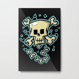 Toxic skull and crossbones blue Metal Print