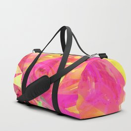 psychedelic geometric triangle polygon pattern abstract in pink and yellow Duffle Bag