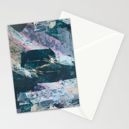 Karma [2]: a vibrant, abstract mixed-media piece in pink, peach, white and teal Stationery Cards