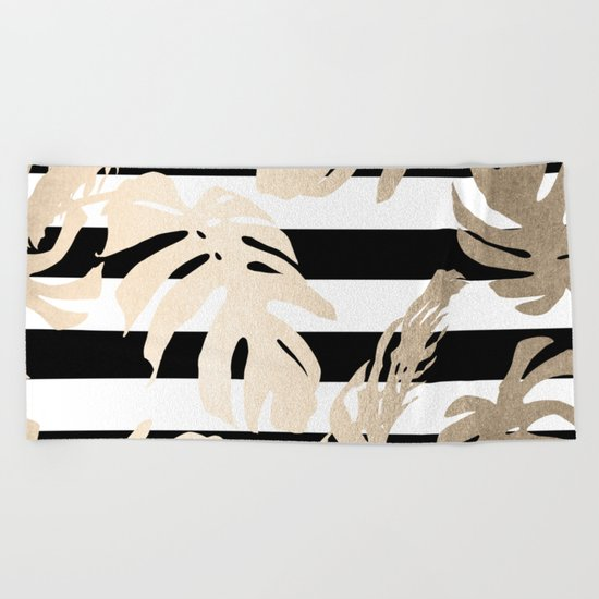 Simply Tropical Palm Leaves on Stripes Beach Towel