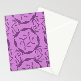 Beige round of leafs in violet and magenta mix #432 Stationery Cards