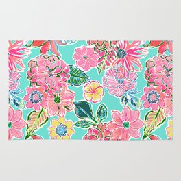 Fun Bright Whimsical Preppy Floral Print / Pattern Rug