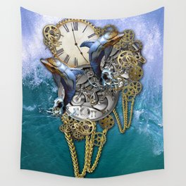 Steampunk Dolphin Time Wall Tapestry