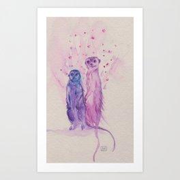Ink Animals of Africa - Meerkat Mates Art Print