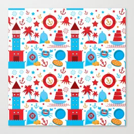 pattern with sea icons on white background. Seamless pattern. Red and blue Canvas Print