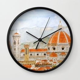 Italy Florence Cathedral Duomo watercolor painting Wall Clock