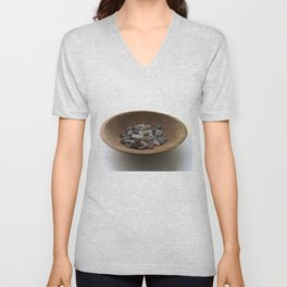 Brown and White Sea Glass Unisex V-Neck