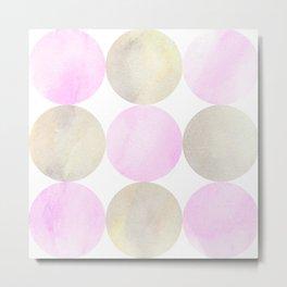 Pink And Grey Painted Circles  Metal Print