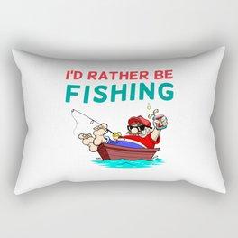 I'd Rather be Fishing Design Rectangular Pillow
