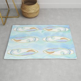 Surfboard and Waves Rug