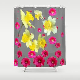 FUCHSIA FLOWERS & YELLOW DAFFODILS DESIGN Shower Curtain