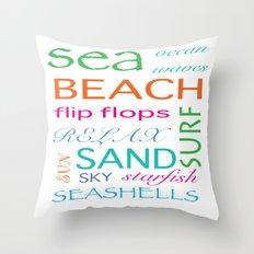 Beach typography Throw Pillow