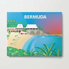 Bermuda - Skyline Illustration by Loose Petals Metal Print