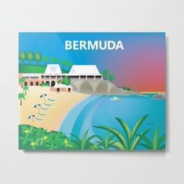 Bermuda - Skyline Illustration by Loose Petals Metal Print