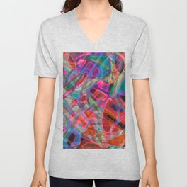 Colorful Abstract Stained Glass G297 Unisex V-Neck