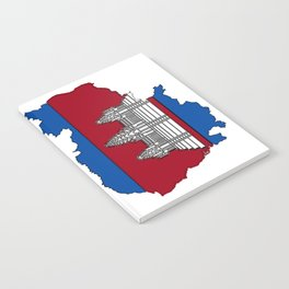 Cambodia Map with Cambodian Flag Notebook