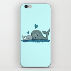 Whale Mom and Baby with Hearts iPhone & iPod Skin