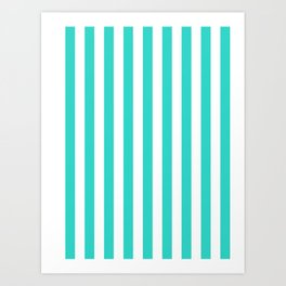 Narrow Vertical Stripes - White and Turquoise Art Print
