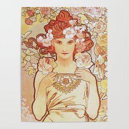 Rose by Alphonse Mucha 1897 // Vintage Girl with Red Hair Floral Love Design Poster