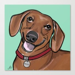 Wendell the Weenie Digital Portrait Canvas Print