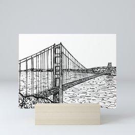 GOLDEN GATE BRIDGE - ink painting.1 Mini Art Print