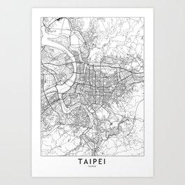 Taipei White Map Art Print