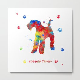 Airedale Terrier Watercolor Colorful Abstract Metal Print