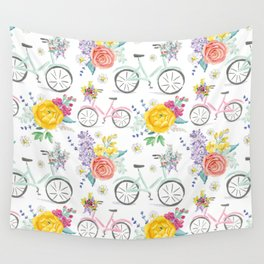 Bike and bouquets pattern Wall Tapestry
